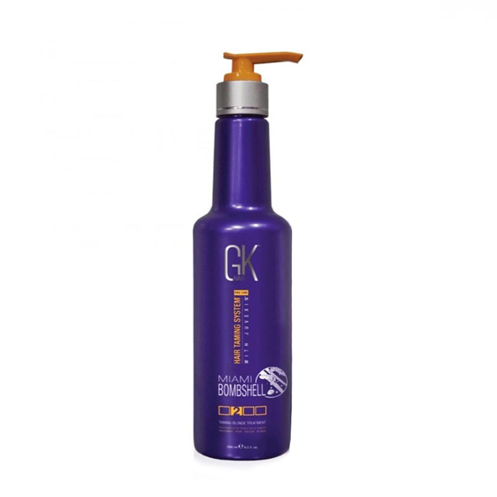 Купить Кератиновое выпрямление Global Keratin, Средство для разглаживания светлых волос Global Keratin Taming Miami Bombshell на фиолетовой базе 280 мл
