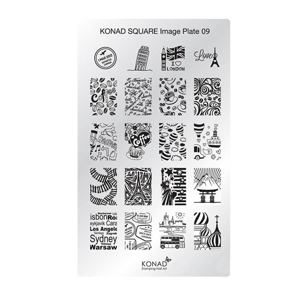 Купить Пластины для стемпинга Konad, Квадратная пластина Konad SQ09 Square Image Plate