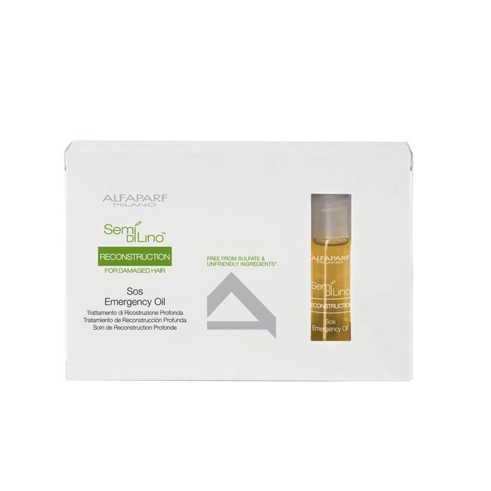 Купить Масла для волос Alfaparf, Масло Alfaparf Semi Di Lino Reconstruction Reparative Sos Oil восстанавливающее структуру волос 6х13 мл