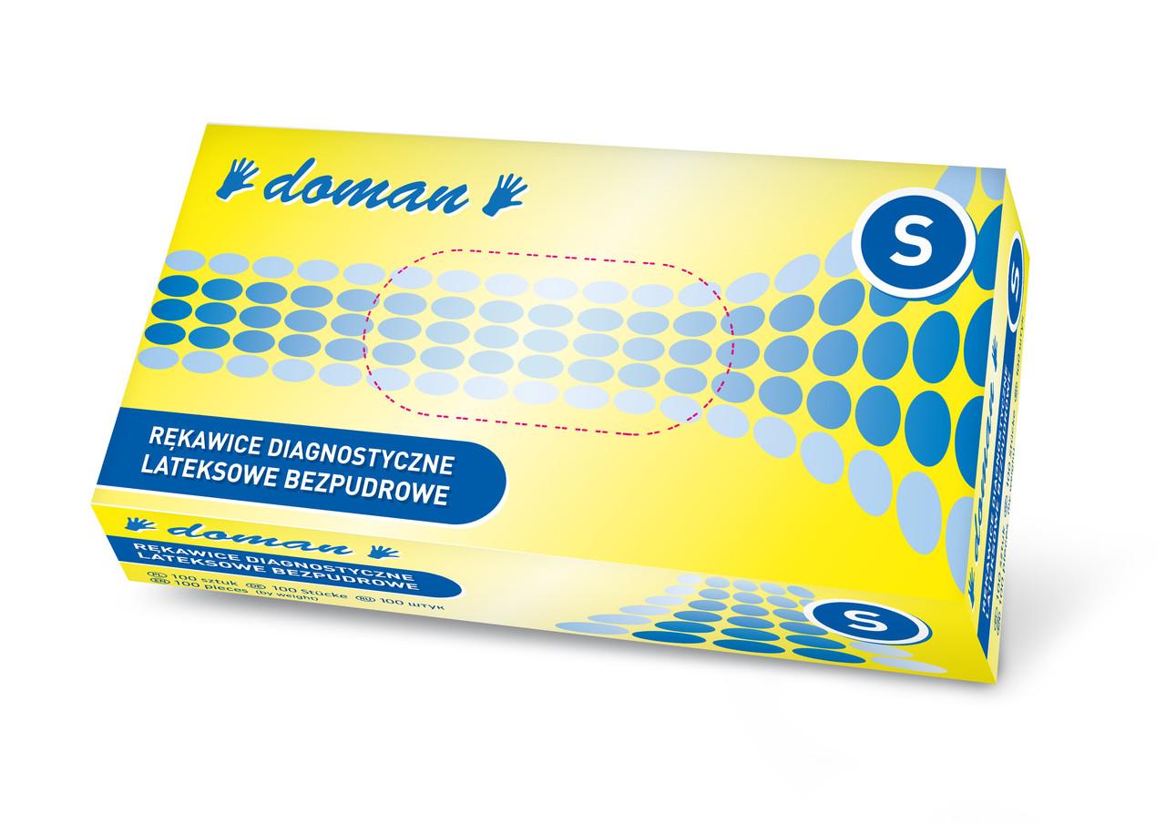 Купить Одноразовые перчатки Doman, Перчатки латексные Doman S неопудренные 100 шт