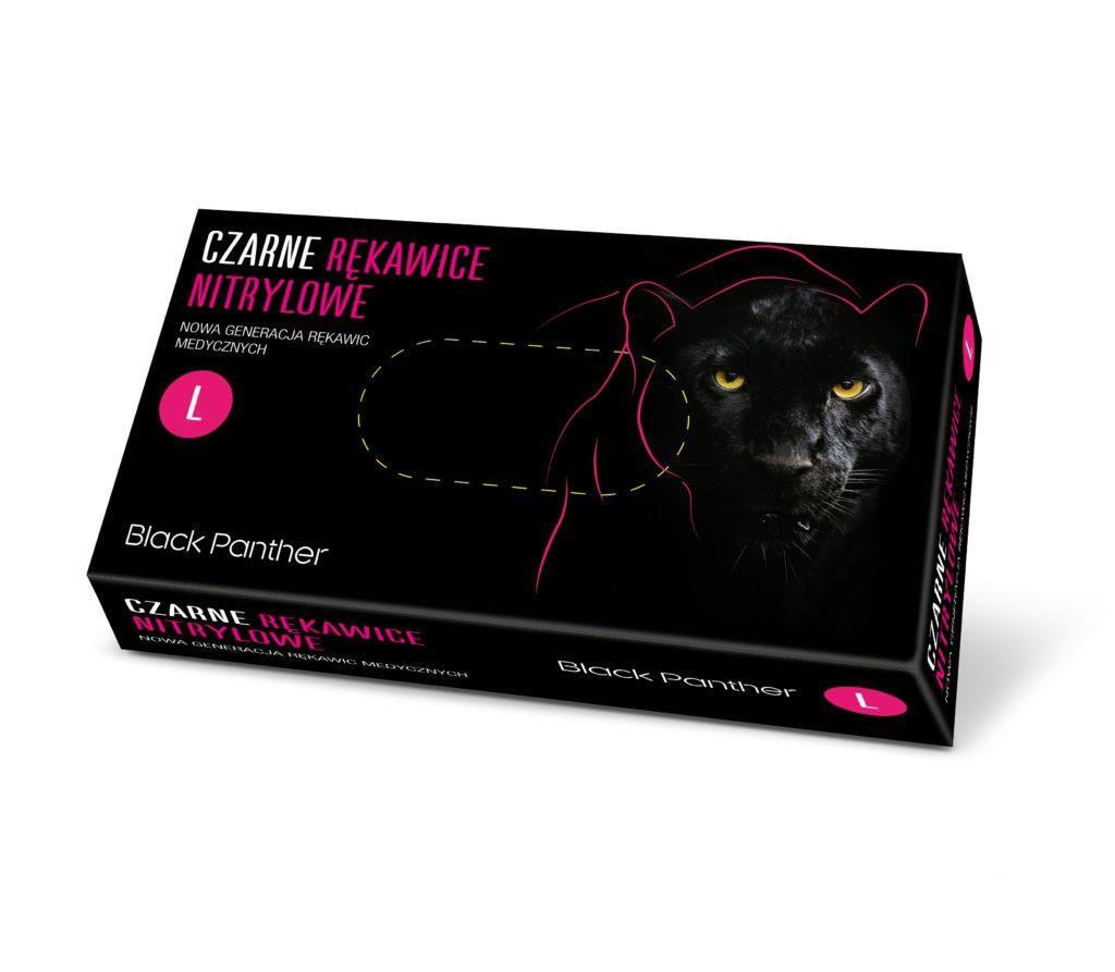 Купить Одноразовые перчатки Doman, Перчатки нитриловые Doman L Black Panther 100 шт