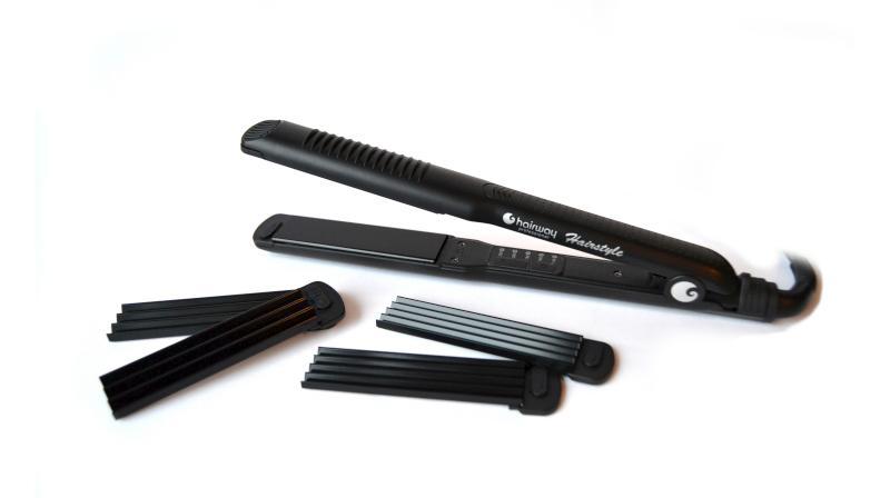 Купить Утюжки-стандарт Hairway, Утюжок для волос Hairway Nano-Silver Tourmaline plate 04108 3 съемные насадки
